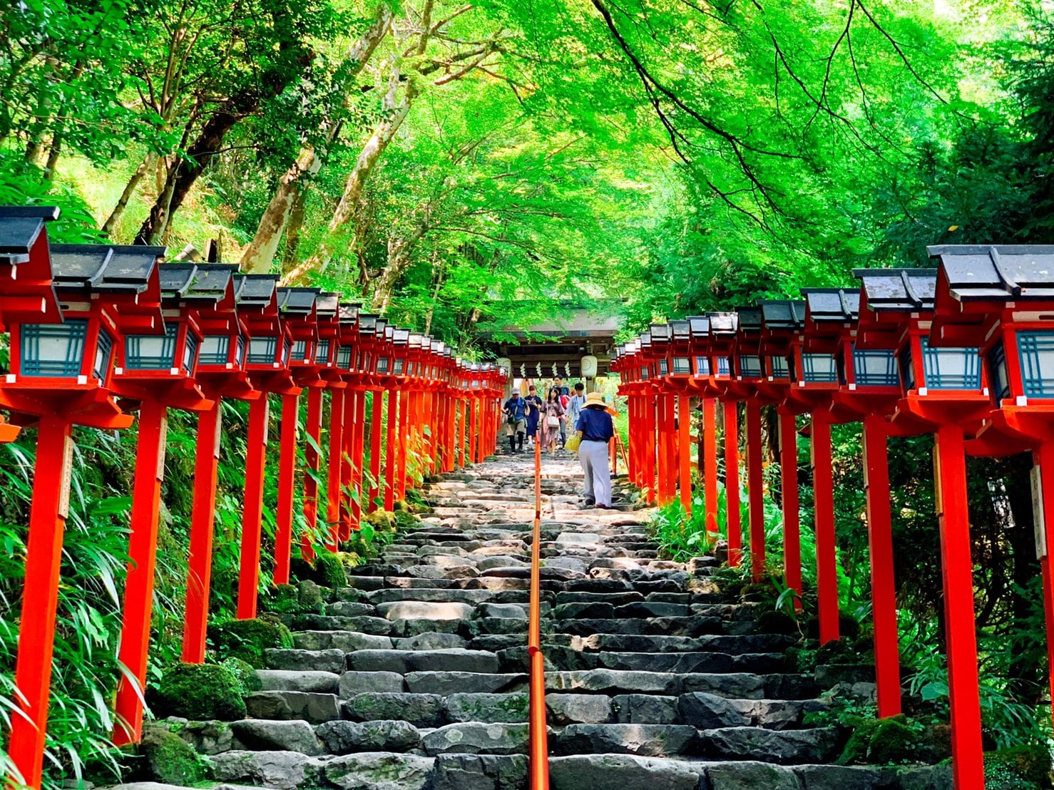 貴船神社 石段 燈籠